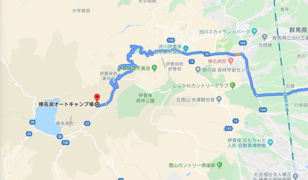 榛名湖オートキャンプ場への地図