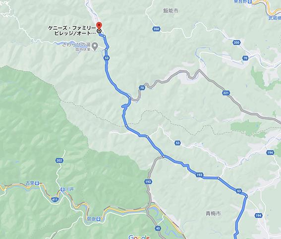 キャンプ場への地図
